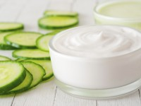 Homemade cucumber face cream. Natural cosmetics from your home laboratory.